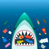 Ecological disaster of plastic garbage in the ocean. A scary shark in with open mouth eats plastic trash amid polluted sea. flat stock illustration