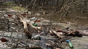 Ecological disaster of water resources. Rubbish from plastic. Contamination pond: plastic bottles left by people thrown like garbage into the river. Ecological stock video footage