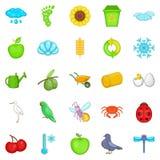 Ecological diversity icons set, cartoon style. Ecological diversity icons set. Cartoon set of 25 ecological diversity vector icons for web isolated on white Royalty Free Stock Photography