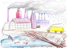 Ecological drawing on the theme of environmental pollution Royalty Free Stock Image