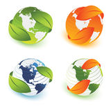 Ecological earth. Earth with leaves different views vector illustration Stock Images