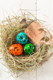 Ecological Easter eggs with feathers and hay Royalty Free Stock Image