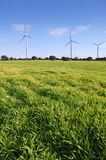 Ecological electric energy windmills in meadow Royalty Free Stock Photography