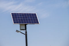 Ecological electrical energy from the solar panel royalty free stock image