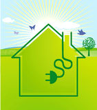 Ecological electrical power. Green house Royalty Free Stock Photos