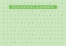 Ecological Elements. Pattern of ecology icons. Collection of elements of ecology for illustrating ecological advertisements Royalty Free Stock Image