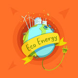 Ecological energy cartoon retro Royalty Free Stock Photo