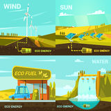 Ecological energy cartoon set Royalty Free Stock Photo