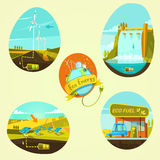 Ecological energy cartoon set Royalty Free Stock Photos
