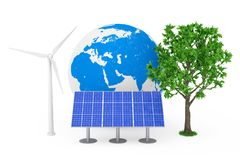 Ecological Energy Concept. Blue Solar Cell Pattern Panel, Wind Turbine Windmill, Earth Globe and Green Tree. 3d Rendering. Ecological Energy Concept. Blue Solar stock photography