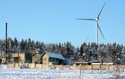Ecological energy wind turbine in winter