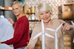 Delighted elderly woman working on an eco project royalty free stock photo