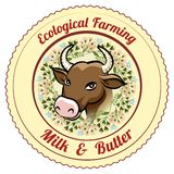 Ecological Farming Milk and Butter label Stock Photography