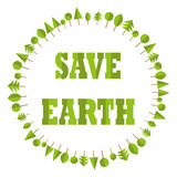 Ecological flat paper save earth business tree circle recycle eco globe vector element logo background Royalty Free Stock Images