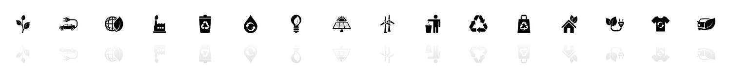 Ecological - Flat Vector Icons. Ecological icons - Black horizontal Illustration symbol on White Background with a mirror Shadow reflection. Flat Vector Icon Royalty Free Stock Images
