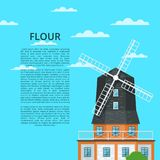 Ecological flour manufacturing banner with mill. Ecological flour manufacturing banner with old windmill building on cloudy blue sky background. Medieval Stock Photos