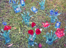 Ecological flowers made from plastic bottles reciclate Royalty Free Stock Images