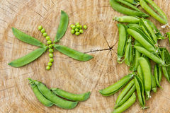 Ecological fresh green peas pods. Royalty Free Stock Photos