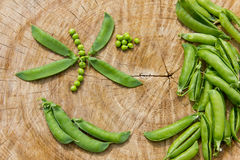 Ecological fresh green peas pods. Royalty Free Stock Photography