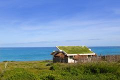 Ecological grass roof house in Mexico. Isla Mujeres Stock Photography