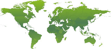 Ecological Green Atlas. Vector clip art map of an ecological green atlas of the world, with all countries and borders showing. Reference source royalty free illustration