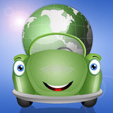 Ecological green car with earth Stock Photo