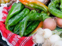 Ecological green peppers and scallion Royalty Free Stock Photo
