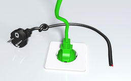 Ecological green plug connected Stock Photos