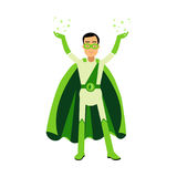 Ecological green superhero man standing with his hands up, eco concept  Illustration Stock Image
