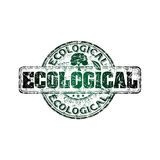 Ecological grunge rubber stamp. Green grunge rubber stamp with small tree shape and the word ecological written inside the stamp Stock Images