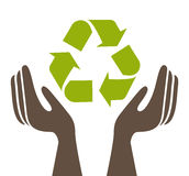 Ecological hands protecting isolated icon design Stock Images