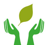Ecological hands protecting isolated icon design Stock Photos