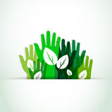 Ecological hands up. With shadow effect Royalty Free Stock Photo