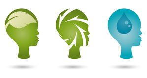 Ecological head illustrations Royalty Free Stock Photos