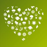 Ecological heart made of icons Stock Photos
