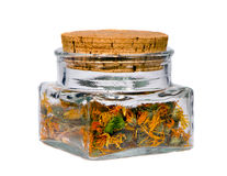 Ecological herbal tea calendula stock photos