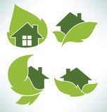 Ecological homes signs and icons Royalty Free Stock Images