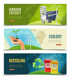 Ecological 3 Horizontal Banner Set. Ecology environment and ecosystem 3 horizontal banners set with green energy sources and recycling isolated vector Royalty Free Stock Photos