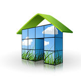 Ecological house. Environmental and ecology concept depicting the situated house made from kid picture boxes Royalty Free Stock Images