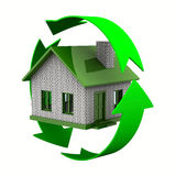 Ecological house. Isolated 3D image on white Stock Photography