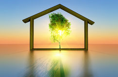 Ecological house. A tree and a house representing the concept of ecological construction stock illustration