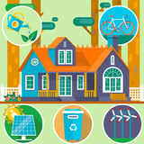 Ecological house in the forest. Clean Environment symbols. Summer landscape. House on the nature. Vector illustration Stock Image