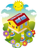 Ecological house. A happy home walking among the flowers with the sun shining Stock Image