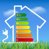Ecological house outline with energy efficiency rating Stock Image