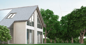 Ecological house with solar panels, 3d render illustration Stock Image