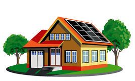 Ecological house with solar pannel. Vector isolated ecology house with solar battery Royalty Free Stock Photo