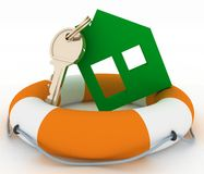 Ecological house symbol with key in Life Buoy Stock Photo