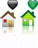 Ecological House versus Regular House Royalty Free Stock Photography
