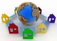 Ecological houses with solar panels and earth Stock Images