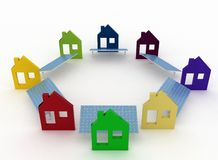 Ecological houses with solar panels Stock Photography